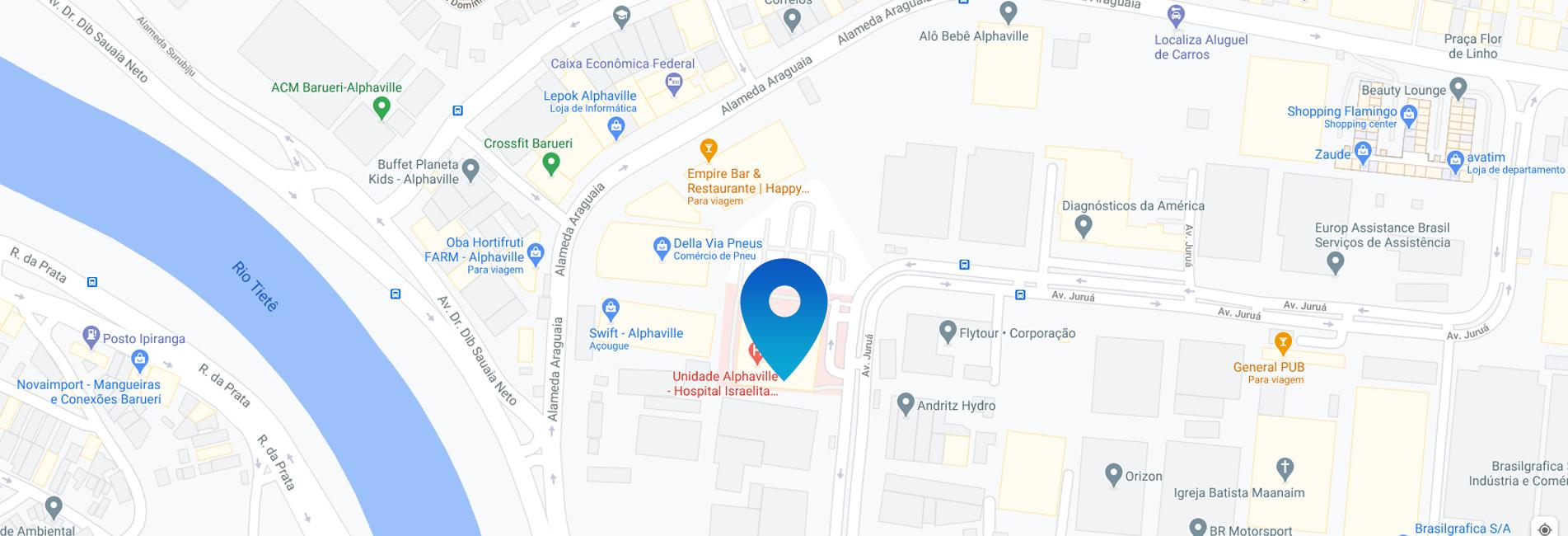Mapa da localização do consultório Alphaville