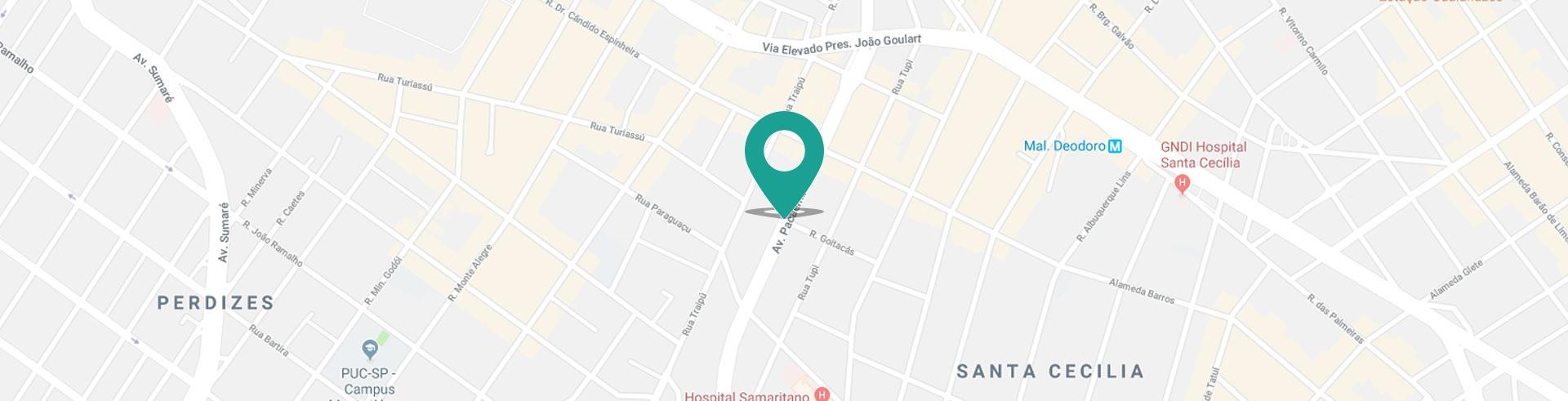 Mapa da localização do consultório pacaembu