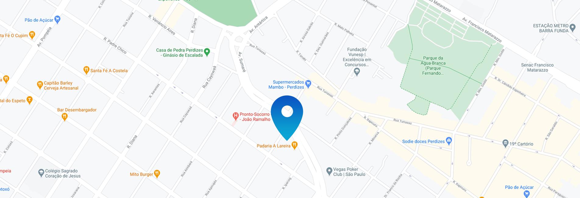 Mapa da localização do consultório Perdizes